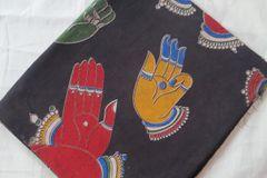 Kalamkari Printed Blouse Piece - Mudras - Black