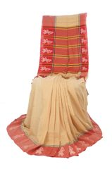 Gollabhama Saree - Border Motif - Mercerised Cotton - Beige with Red Border