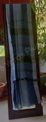 BHAGALPUR COTTON-LIGHT AND DARK BLUE-WITH STRIPED BLOUSE-DARK BLUE BORDER