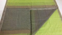Maheshwari Sarees - Silk Cotton - Woven Border - Bright Green With Striped Palla & Blouse