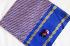 Udupi Blouse Piece - Cotton Checks - Purple and Grey with Blue Border