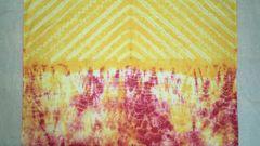 Shibori - Cotton - Hand dyed - Yellow & Pink