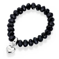 Fiorelli Fashion Bead Charm Elasticated Bracelet Black Beads B3745