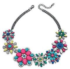 "Fiorelli Costume Jewellery 17.75"" Black Rhodium & Neon Flower Collar Necklace"