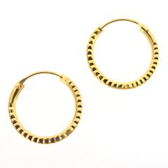 Diamond Cut 18mm Sterling Silver Hoop Earrings with Gold Plate - Basic Sleepers