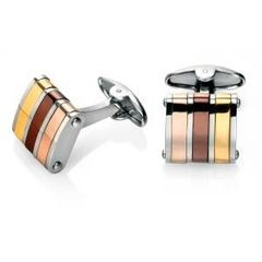 V475(Fred Bennett)stainless steel cufflinks with gold, brown and rosn++e gold PVD