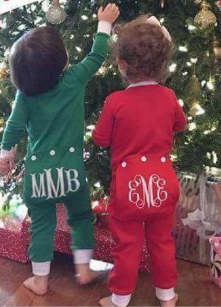 monogrammed infant and toddler christmas pajamas - Christmas Pjs Toddler