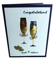 Champagen Congratulations! Handcrafted Personalized Greeting Card