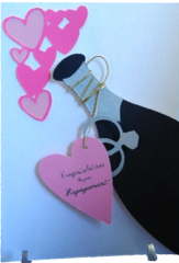 20 Handcrafted Cards Congratulations on Your Engagement; With champagne wishes to pink heart bubbles!