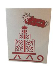 "20 Handcrafted Holiday Cards ""Warm Wishes"" Laser Cut Sleigh and Presents"