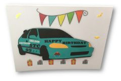 "20 Handcrafted Birthday Card s ""Flags and Honda"""