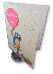 20 Personalize handcrafted Birthday cards, like this card with a Parrot and a personalized balloon.