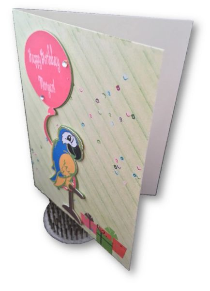 personalize birthday card with parrot and presents randi s card place