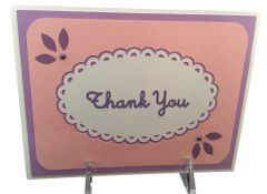 20 Personalize HandcraftedThank You Cards, Pretty In Pink