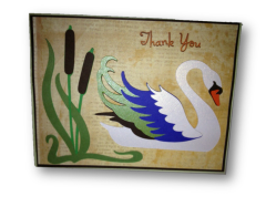 "20 Handcrafted Thank You Cards ""Swan setting"""