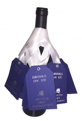 Pop By Gifts Wine Tags; Drinks On Us!