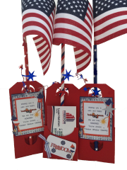 20 Handcrafted Pop-by Gifts: Tags; Fourth of July Freedom Flags