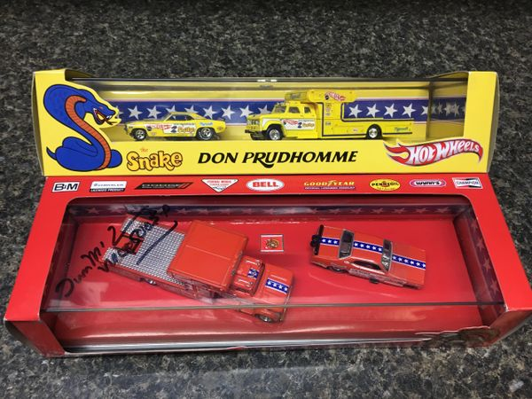 Hot Wheels Snake and Mongoose sets, signed with Posters