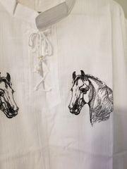 Gauz Shirt Embroidry Horse Head