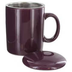Purple Tea Mug With Infuser. Holds 11 Ounces.Ceramic