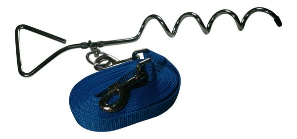 Freedom Ground Run Polypropylene Tie Out Tether with Corkscrew FGR-SDPP Glacier Blue