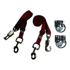 Broncobuster Adjustable Nylon Horse Cross Ties (2) with Hitching Rings Red