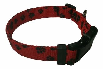 Beast-Master Polyester Dog Collar Red with Black Paw