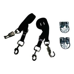 Broncobuster Adjustable Nylon Horse Cross Ties (2) with Hitching Rings Black