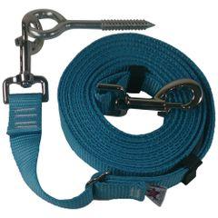 "Beast-Master Adjustable 1"" Nylon Dog Tether w/Lag Screw (Medium Dogs) Ice Blue"