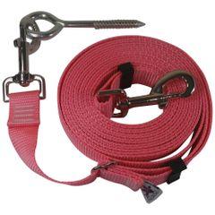 "Beast-Master Adjustable 1"" Nylon Dog Tether w/Lag Screw (Medium Dogs) Pink"