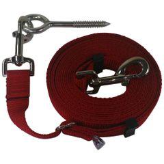 "Beast-Master Adjustable 1"" Nylon Dog Tether w/Lag Screw (Medium Dogs) Red"