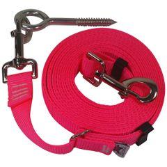 "Beast-Master Adjustable 1"" Nylon Dog Tether w/Lag Screw (Medium Dogs) Hot Pink"