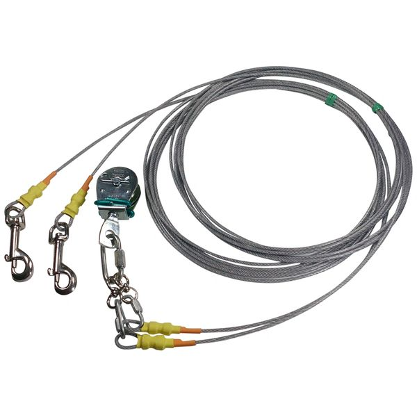 Freedom Aerial Dog Run™ Tangle Free Double Dog Lead Lines Light Duty FADR-DD15LD