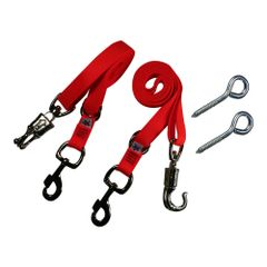 Broncobuster Adjustable Nylon Horse Cross Ties (2) with Lag Screw Eyes Flamin' Orange