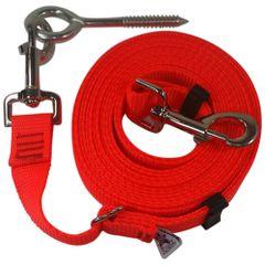 "Beast-Master Adjustable 1"" Nylon Dog Tether w/Lag Screw (Medium Dogs) Flamin' Orange"