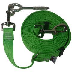 "Beast-Master Adjustable 1"" Nylon Dog Tether w/Lag Screw (Medium Dogs) Electric' Green"