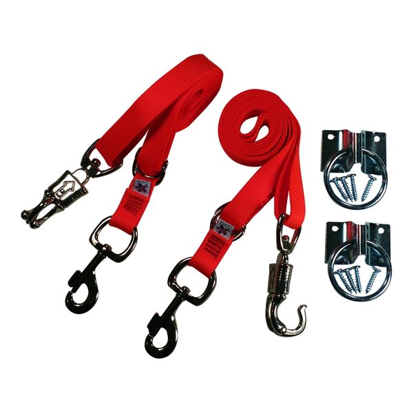 Broncobuster Adjustable Nylon Horse Cross Ties (2) with Hitching Rings Flamin' Orange