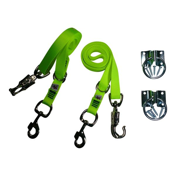 Broncobuster Adjustable Nylon Horse Cross Ties (2) with Hitching Rings Screamin' Yellow