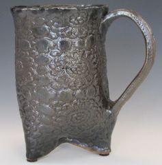 Black Glazed 3 Footed Mug