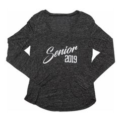 Senior 2019 Women's Snow Heather V-neck Long Sleeve T-Shirt