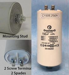 150 MFD 250 VAC Air Compressor capacitor w/ mounting stud