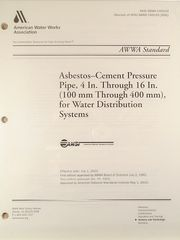 ANSI/AWWA-C400-03 Standard for Asbestos-Cement Pressure Pipe, 4 In. through 16 In. (100 mm through 400 mm), for Water Distribution Systems