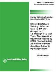 AWS- B2.1-1-206:1996(R2007) Standard Welding Procedure Specification for Shielded Metal Arc Welding of Carbon Steel, (M-1/P-1/S-1, Group 1 or 2), 1/8 through 1-1/2 Inch Thick, E6010 Followed by E7018 As-Welded or PWHT Condition