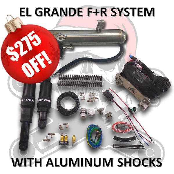 """BLACK FRIDAY SALE2- DIRTY AIR """"El Grande"""" Front and Rear Complete Fast-Up Tank System with ALUMINUM SHOCKS"""