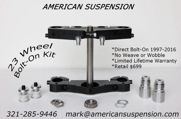 "American Suspension Triple Trees - Raked for 23"" Wheel"