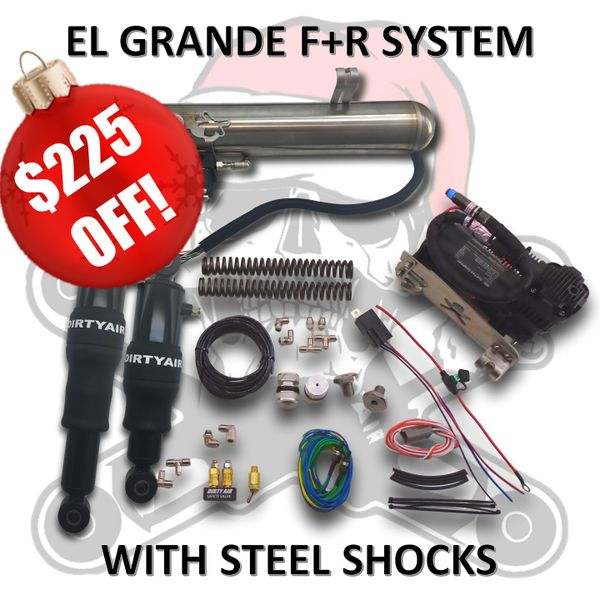 """BLACK FRIDAY SALE3- DIRTY AIR """"El Grande"""" Front and Rear Complete Fast-Up Tank System with STEEL SHOCKS"""