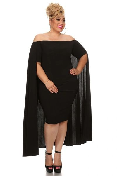 Plus Size Black Midi Bodycon Dress With Cape Luxuryconsignment