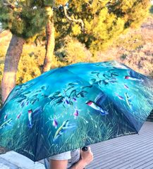 heavy duty compact umbrella - Hummingbirds