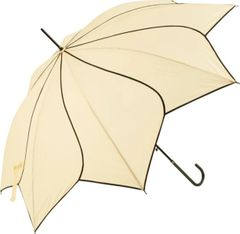 ivory/black trim flower petal shaped umbrella/parasol
