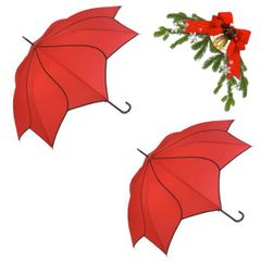 "holiday deal combo - 2 red ""Shaped like a flower"" umbrellas 25% off"